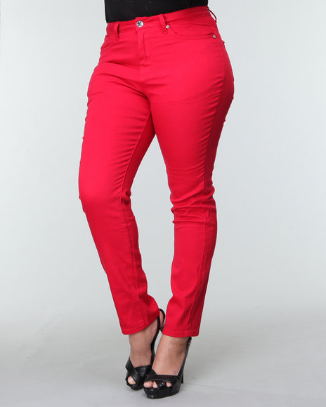 red basic skinny jeans (plus)