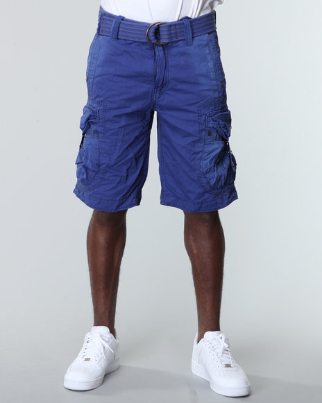 Jet Lag Men Blue Cargo Short W/ Buckle Pockets