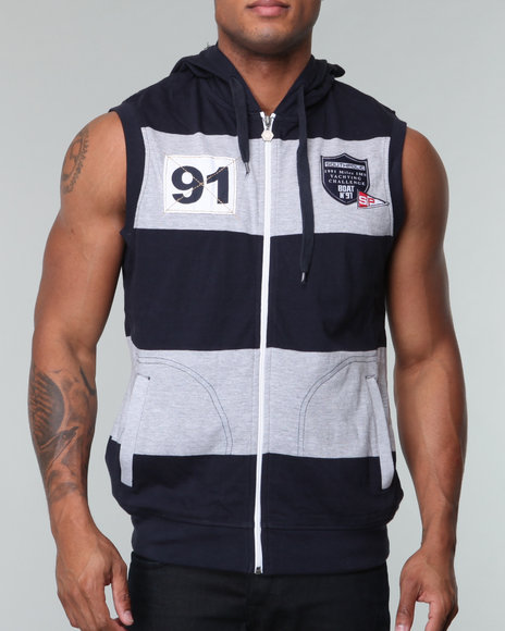 Southpole Men Striped Sleeveless Hoodie - Hoodies