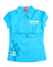 Girls - Belted Empire Waist Shirt (7-16)