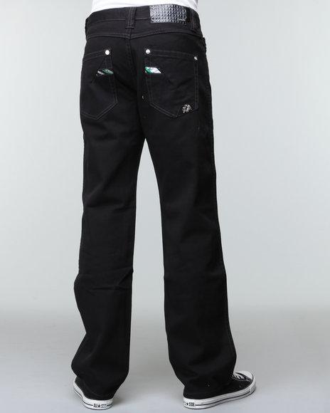 Pelle Pelle Men Black Triple Black Crest Denim Jeans