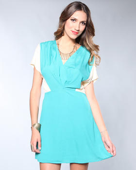 DJP Boutique - Color Block Pleated V-Neck Dress