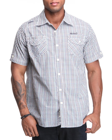 - Stow Away Plaid Short Sleeve Woven Shirt