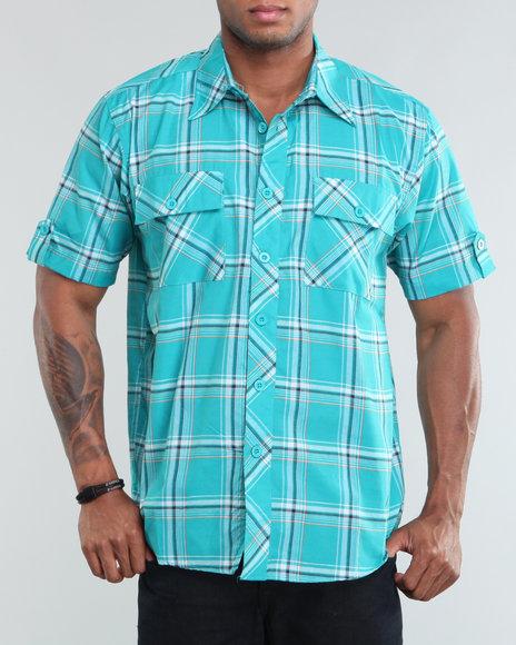 Buyers Picks - Men Blue Yacht Plaid Short Sleeve Woven Shirt