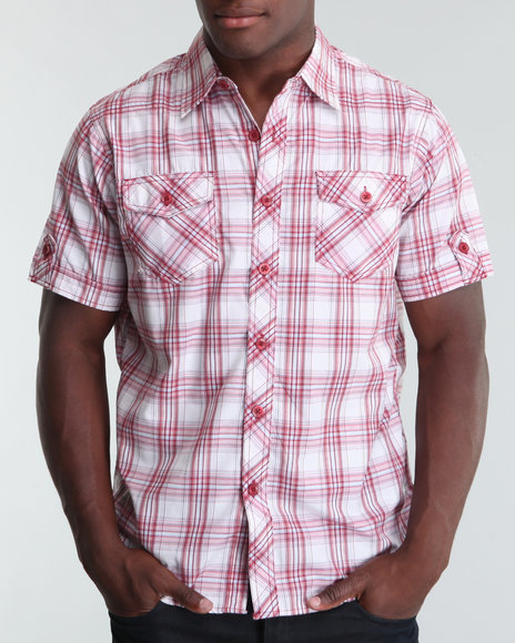 Basic Essentials Men Large Plaid Woven Shirt Red Large