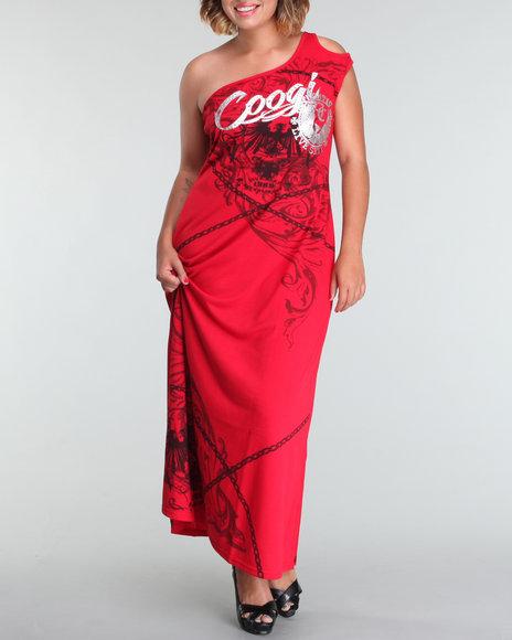 Coogi Women One Shoulder Maxi Dress (plus) - Dresses