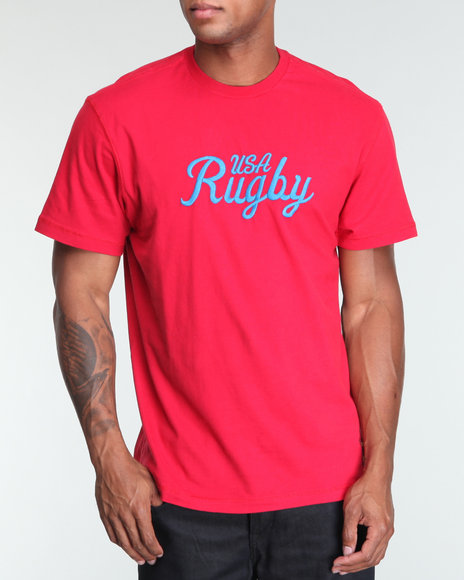 Usa Rugby Men Red Crew Neck Logo Tee