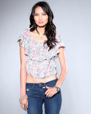DJP OUTLET - Pink Floal Half Blouse