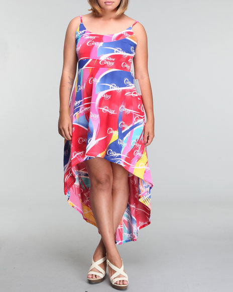 Coogi Women Allover Printed High Low Maxi Dress (PLUS) - Dresses