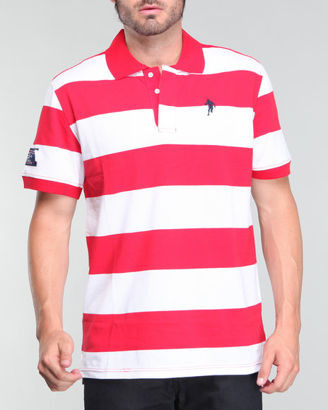 Usa Rugby Men Red Striped Polo