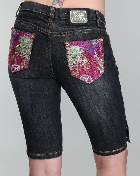 COOGI Women Indigo Back Graphic Bermuda Jean