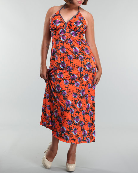 floral maxi halter dress (plus)