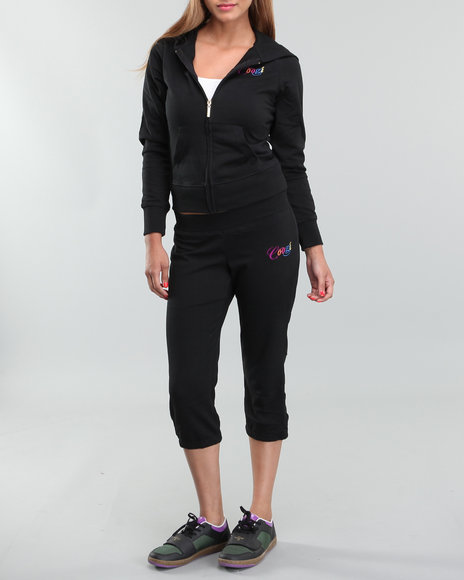 COOGI Women Black Hoody Track Pant Set