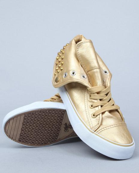 Apple Bottoms Women Gold Benson Vegan Leather Sneaker W/Studs