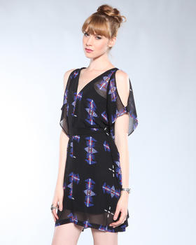 DJP OUTLET - Celeste Sioux Printed Open Shoulder Dress