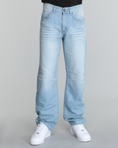 stitched flap back pocket relaxed fit denim jeans