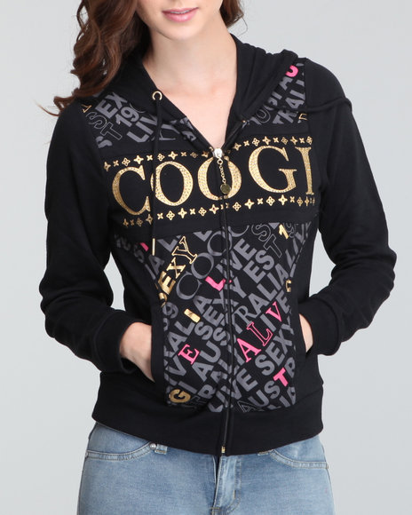 COOGI Women Black French Terry Hoodie