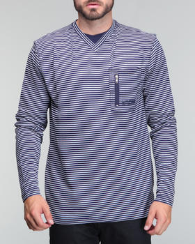 Mecca - Stripe longsleeve light weight v neck shirt
