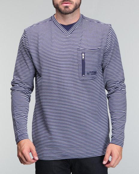 Mecca Men Navy Stripe Longsleeve Light Weight V Neck Shirt