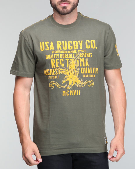Usa Rugby Men Olive Crew Neck Tee W/Grpahic