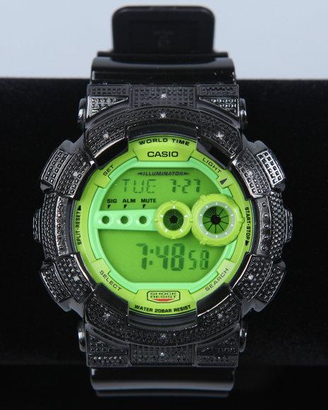 G-Shock By Casio Men Gd 100 Blk/Lime Green Diamond Watch Black 1SZ