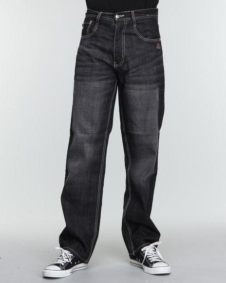 Akademiks Men Black Rolodex Blasted Signature Denim Jeans