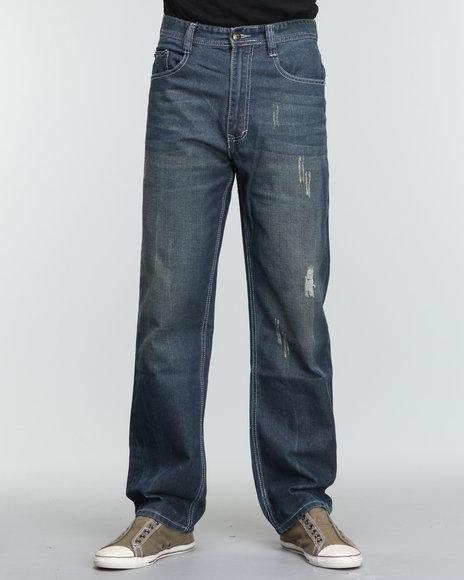 Akademiks Men Vintage Wash The Ness Signature Denim Jeans