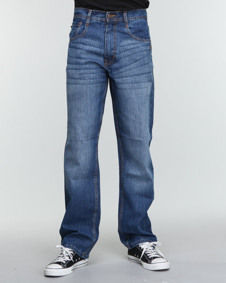 Akademiks - Men Indigo Rolodex Blasted Signature Denim Jeans