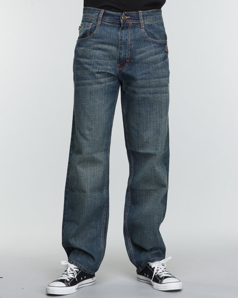 Akademiks - Men Vintage Wash Rolodex Blasted Signature Denim Jeans