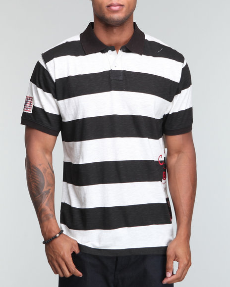 Company 81 Men Black Slub Stripe Polo