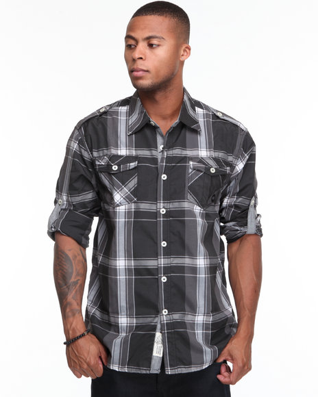 - Pan Handler Roll Up Long Sleeve Plaid Shirt