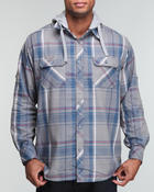 Button-downs - L/S Plaid  button down w/ detachable hood