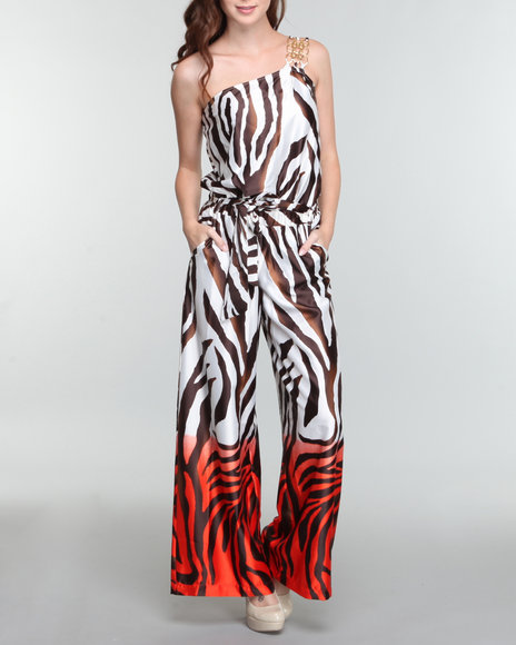 1 shoulder zebra ombre jumpsuit